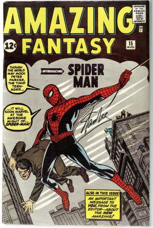 amazing fantasy 15 firmato Stan Lee, prima apparizione di Spider-Man in USA