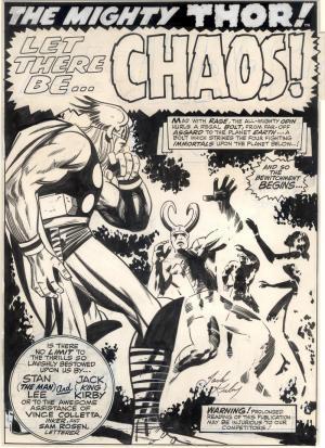 Spettacolare splash page di Thor di Jack Kirby