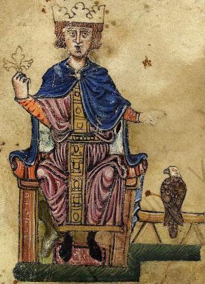 Ritratto di Federico II con il falco dal suo trattato De arte venandi cum avibus - Autore sconosciuto - Fonte: Wikimedia Commons