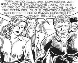 1993: un anziano Mister No con Martin Mystère, Diana e Java - Disegni di Stefano e Domenico Di Vitto, da Mister No Speciale 8. (c) 1993 Sergio Bonelli Editore