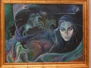 Maria Cristina Sirchia - Il castello di Morgana<br>- Pittura a Olio, 80x60cm, 1970