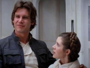 Han Solo e la principessa Leila in Guerre Stellari