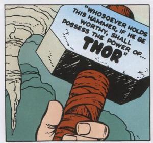 Pittoresca traduzione dal linguaggio asgardiano nei fumetti di Stan Lee e Jack Kirby