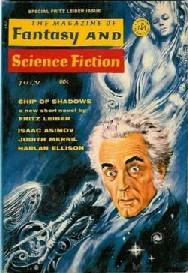 """Fritz Leiber ritratto sulla copertina del numero speciale a lui dedicato di """"The Magazine of Fantasy & Science Fiction"""" dedicato a Leiber e che lo ritrae in copertina"""