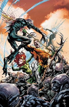 Orin e Mera combattono le creature della Fossa sulla copertina di Aquaman #3 (gennaio 2013) illustrata da Ivan Reis