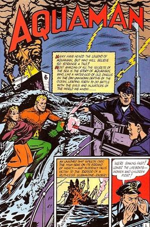 La prima apparizione di Aquaman, creato da Mort Weisinger e Paul Norris, in More Fun Comics #73 (novembre 1941)