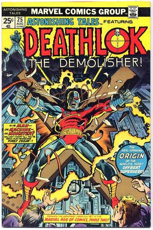 Prima apparizione di Deathlok in Astonishing Tales 35. Cover di Doug Moench