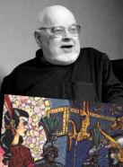 Il prof. Baker sullo sfondo di un'immagine di Tekumel (copyright Tekumel Foundation9