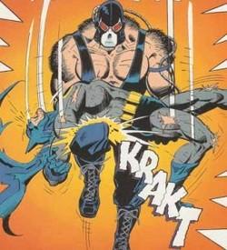 Bane spezza la schiena a Batman nel momento culminante della saga Knightfall.
