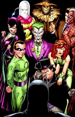 Batman e i suoi più famosi avversari in un'illustrazione di Jim Calafiore