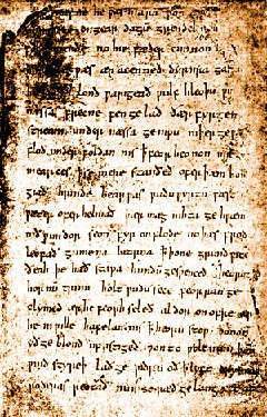 Una pagina del manoscritto medievale del Beowulf