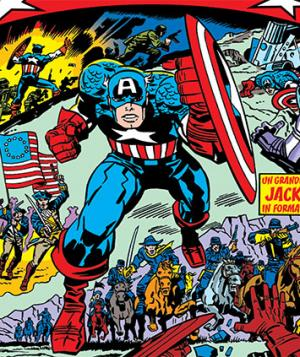 Capitan America in un disegno di Jack Kirby
