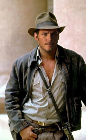 Una immagine fotoshoppata di Indiana Jones con il volto di Chris Pratt.