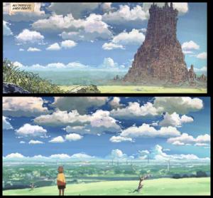 Cieli a confronto: sopra Ferrario, sotto Miyazaki