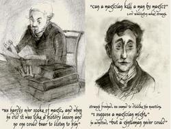 Due illustrazioni di Portia Rosenberg, Jonathan Strange e Gilbert Norrell