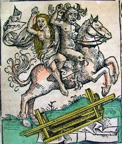 Il Diavolo rapisce una donna, in un antico disegno