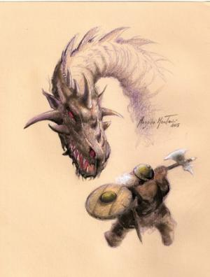 Drago con Nano - illustrazione di Angelo Montanini