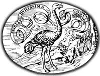 Lo storico logo dell'Einaudi. La marca editoriale della casa editrice raffigura uno struzzo che stringe un chiodo nel becco e, sullo sfondo, una paesaggio con un castello e scritta «Spiritus durissima coquit»