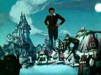 Gulliver a Lilluput in un fotogramma del cartone animato del 1939