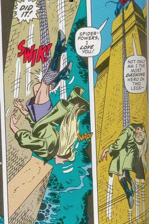 La vignetta della morte di Gwen Stacy. Da The Amazing Spider-Man #121 - Disegno di Gil Kane.