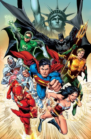La copertina della quarta ristampa di Justice League #1 (novembre 2011) illustrata da Ivan Reis e Joe Prado