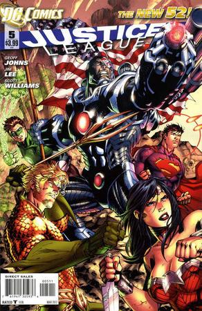 Cyborg, insieme a Wonder Woman, Aquaman, Lanterna Verde e Superman sulla copertina di Justice League #5 (marzo 2012) di Jim Lee e Scott Williams