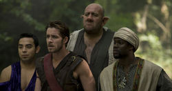 Il cast di Krod Mandoon and the Flaming Sword of Fire: Bruce (Marques Ray), Krod (Sean Maguire) Loquasto (Steve Speirs) e Zezelryck (Kevin Hart)