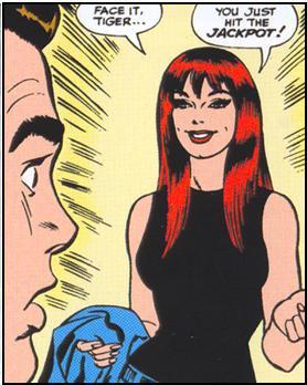 La prima apparizione di Mary Jane Watson, in ASM #25 (disegno di John Romita)
