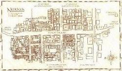 Una mappa della città di Neskaya. Neskaya è uno dei centri abitati più noti di Darkover, e deve la sua popolarità alla presenza della Torre omonima e del poco distante convento di S. Valentino delle Nevi