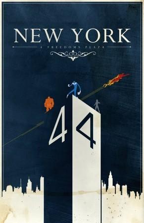Finto poster di promozione turistica del Four Freedom Plaza, opera di Justin Van Genderen (http://superpunch.blogspot.com/2010/12/travel-posters-for-famous-comic-book.html).