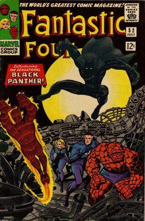 Fantastic Four 52 (1966), prima apparizione della Pantera Nera. Cover di Jack Kirby.