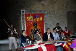 Una foto del tavolo della conferenza stampa con, da sinistra, Livio Buonanno, Giampaolo Iglio, Claudio Curcio, Luca Coppola, Ambrogio Di Renzo.