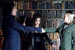 Alan Rickman, Helena Bonham Carter e Helen McCrory in una scena di Harry Potter e il Principe mezzosangue. <br>Rickman e la Bonham Carter torneranno a lavorare insieme in Alice nel Paese delle meraviglie e nel settimo film tratto dalla saga di Harry Potter