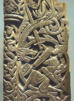 Sigurd contro il drago, incisione su legno