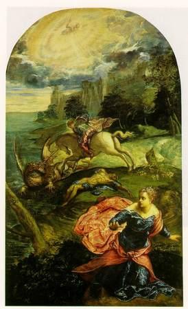 Tintoretto, San Giorgio e il drago. National Gallery, Londra