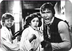 Luke, Leila e Han nella prima trilogia