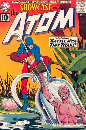 La prima apparizione di Atom in Showcase #34 dell'ottobre 1961 (copertina illustrata da Gil Kane)
