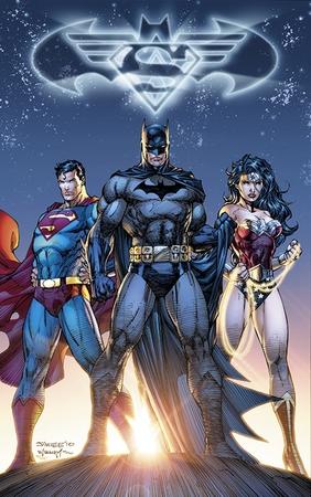 La Trinità (Superman, Batman e Wonder Woman) illustrata da Jim Lee