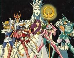 I cavalieri dello zodiaco schierati intorno a Lady Isabel