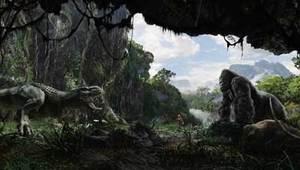 Kong protegge la sua Ann dall'attacco di un tirannosauro