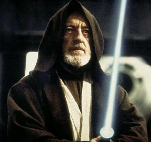 Obi Wan Kenobi impugna la spada laser
