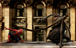 la battaglia tra l'uomo ragno e Doc Hoc sul treno della metropolitana