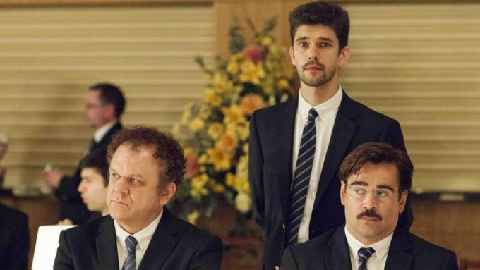 John C Reilly, Ben Whishaw eColin Farrell in 'The Lobster'