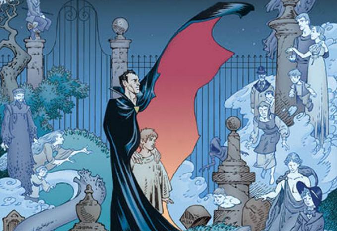 Un dettaglio della cover di The Graveyard Book, disegnata daP. Craig Russell