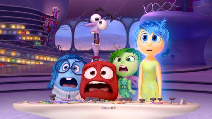 I protagonisti di Inside Out: Paura, Tristezza, Gioia, Disgusto e Rabbia.