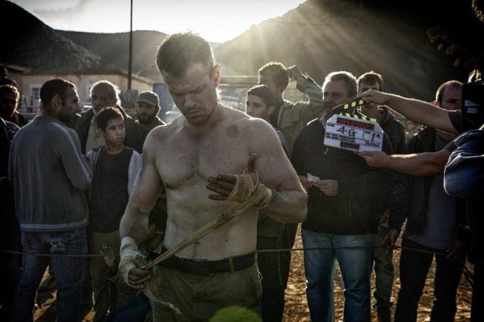 Matt Damon sul set di Jason Bourne