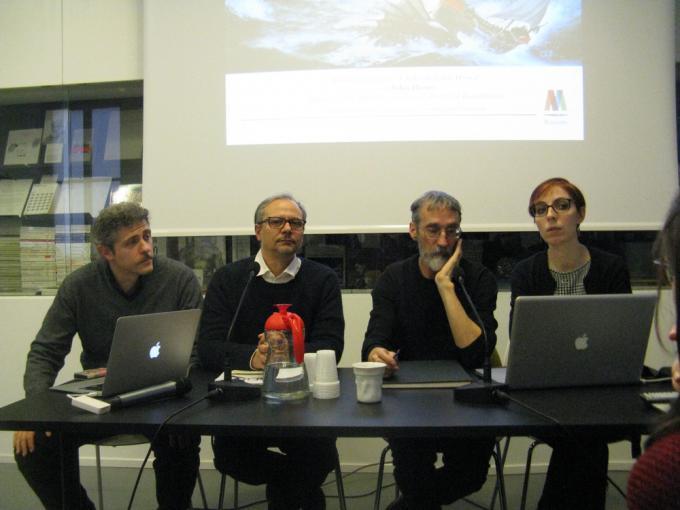 Da sinistra:  Federico Gugliemi, Luca Valtorta, John Howe e la traduttrice Chiara Cereda - Courtesy Mimaster Illustrazione.