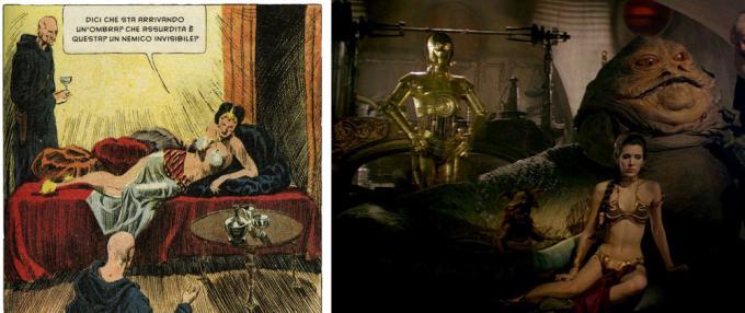 La serie a fumetti Flash Gordon influenzò molto George Lucas per la creazione del suo universo. Qui una vignetta di Flash Gordon del 1935 messa a confronto con un fotogramma del film Il ritono dello Jedi