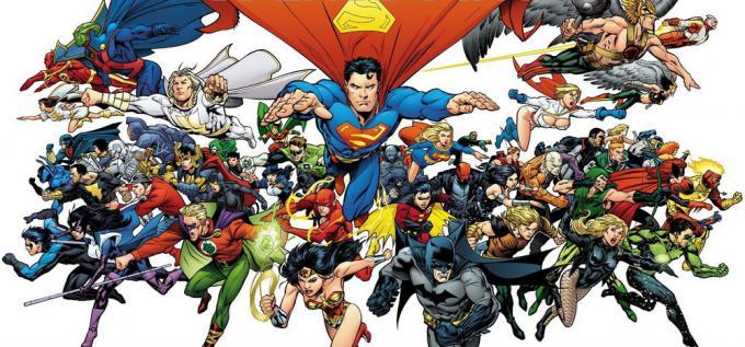 Alcuni tra i principali eroi DC Comics in un'illustrazione di Andy Kubert, Tim Townsend e Dave Stewart