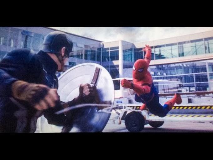 Captain America vs Spider-Man in Captain America: Civil War